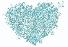 Blue heart in zentangle style Royalty Free Stock Photo