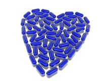 Blue hearth of capsules. Blue transparent hearth of capsules on white Stock Photography