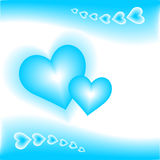 Blue hearts. Illustration of blue hearts with blue background Stock Image