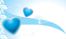 Blue hearts on the abstract background. Banner Royalty Free Stock Photos