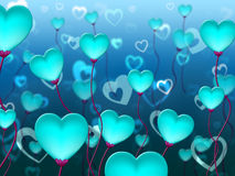 Blue Hearts Background Means Valentines Day And Backgrounds. Blue Hearts Background Indicating Valentines Day And Passion Royalty Free Stock Photography