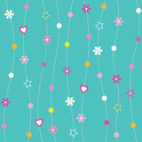 Blue hearts flowers dots & stars background. Hearts flowers dots & stars pattern on blue background Stock Photo