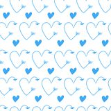Blue hearts in form of arrows seamless vector backgrounds for Valentine`s Day. Romantic illustration for wallpaper, wrapping, des. Romantic illustration for vector illustration