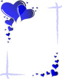 Blue hearts frame. Valentine card. Ideal frame for a valentines portrait Royalty Free Stock Images