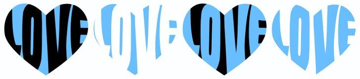 Blue Hearts Love Words. Love words written inside blue hearts line Stock Image