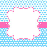 Blue Hearts Pink Frame Valentines Card royalty free stock images
