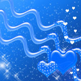 Blue Hearts and Sparkles Backdrop Royalty Free Stock Image