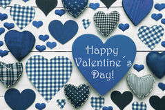 Blue Hearts Texture, Text Happy Valentines Day Stock Photography