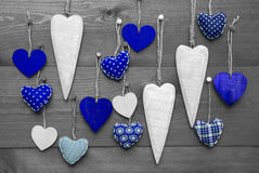 Blue Hearts For Valentines Daecoration, Black And White Image Royalty Free Stock Image