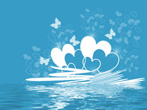Blue Hearts Water Royalty Free Stock Images