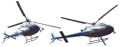 Blue helicopter isolated Royalty Free Stock Image