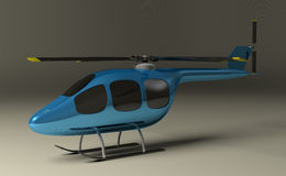 Blue helicopter on gray Stock Photography