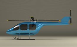 Blue helicopter on gray Stock Images