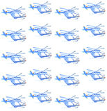 Blue helicopter. watercolor seamless pattern Royalty Free Stock Photography