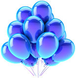 Blue helium balloons party decoration. Balloons party happy birthday blue cyan decoration. Joy fun happiness abstract. Holiday anniversary retirement celebration Royalty Free Stock Photo