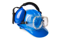 Blue helmet with ear protectors and fathers Royalty Free Stock Photos