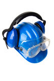 Blue helmet with ear protectors and fathers Stock Images