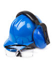 Blue helmet with ear protectors and fathers Stock Photo