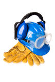 Blue helmet with leather gloves and earmuffs eyes Royalty Free Stock Photos
