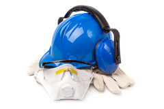 Blue helmet with leather gloves and earmuffs eyes Stock Image