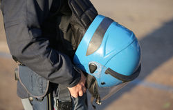 Blue helmet of a policeman Royalty Free Stock Image
