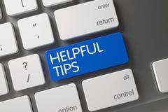 Blue Helpful Tips Keypad on Keyboard. 3D. Stock Images