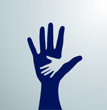 Blue helping hands. Idea of the sign for the association of care - hand in hand. Vector. Blue helping hands for volunteer Stock Photos