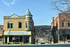 Blue Heron Knittery, Decorah, Iowa Central Block Building Royalty Free Stock Images