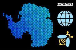 Blue Hexagon Antarctica Map. Geographic map in blue color tints on a black background. Vector composition of Antarctica map constructed of honey comb elements vector illustration