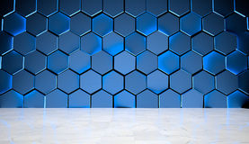 Blue Hexagon Background with Marble Floor Stock Image