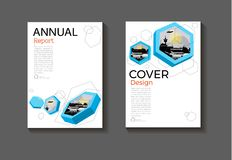 Blue hexagon background modern cover design modern book cover ab. Stract Brochure cover  template,annual report, magazine and flyer layout Vector a4 Royalty Free Stock Image