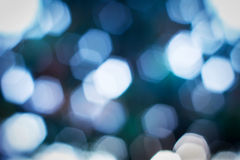 Blue hexagon bokeh, background. Stock Images
