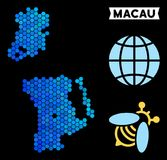 Blue Hexagon Chinese Macau Map. Geographic map in blue color shades on a black background. Vector concept of Chinese Macau map composed of hexagon dots Vector Illustration