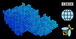 Blue Hexagon Czech Map. Geographic map in blue color variations on a black background. Vector composition of Czech map composed of hexagon dots Vector Illustration