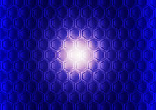Blue hexagon gradient illuminated pattern abstract background Royalty Free Stock Photos
