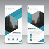 Blue hexagon roll up business brochure flyer banner design , cover presentation abstract geometric background, modern publication. X-banner and flag-banner vector illustration