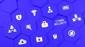 Blue hexagon towers with cybersecurity icons Royalty Free Stock Images