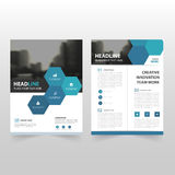 Blue hexagon Vector annual report Leaflet Brochure Flyer template design, book cover layout design, abstract business presentation. Template, a4 size design stock illustration