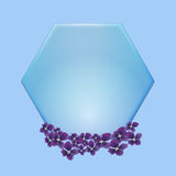 Blue hexagon with violet flowwer  on blue background Royalty Free Stock Photo