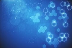 Blue hexagonal background. Abstract blurry blue hexagonal background. 3D Rendering Royalty Free Stock Photos
