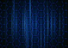 Blue Hexagonal Background with Light Stripes. Blue Hexagonal Structure with Light Stripes on Dark Background - Abstract Illustration with 3D Effect, Vector Stock Photo