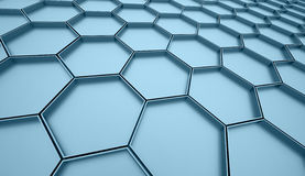 Blue hexagonal cell Stock Photo