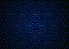 Blue Hexagonal 3D Mesh Background. Blue Hexagonal 3D Mesh Structure on Dark Background - Abstract Illustration with 3D Effect, Vector Royalty Free Stock Image