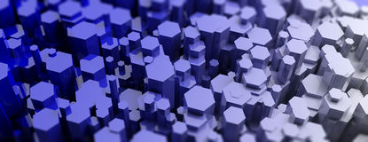 Blue hexagonal prisms abstract background. 3d illustration Royalty Free Stock Images