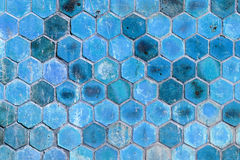 Blue hexagonal shape wall background Royalty Free Stock Image