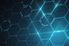 Blue hexagonal texture. Abstract glowing blue hexagonal texture. Technology concept. 3D Rendering royalty free illustration