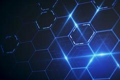 Blue hexagonal wallpaper. Abstract glowing blue hexagonal wallpaper. Technology concept. 3D Rendering vector illustration