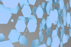 Blue hexagons of random size on white background. Abstract background with hexagons. Cloud of hexagons in front of wall. 3D rendering illustration Stock Images