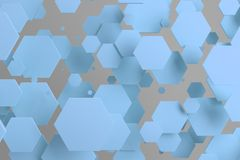 Blue hexagons of random size on white background. Abstract background with hexagons. Cloud of hexagons in front of wall. 3D rendering illustration Stock Photography