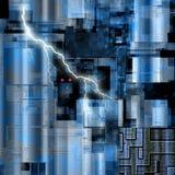 Blue Hi Tech Abstract Futuristic 3D Illustration royalty free illustration